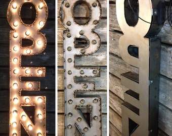 VERTICAL Steel Marquee OPEN SIGN with back, non-rusty