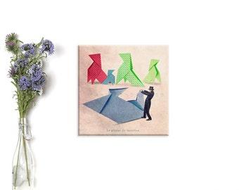 canvas print, Canvas Gallery Wrap, Origami paper, Fun art print, Children decor, animal decor, french home decor, wall decor child