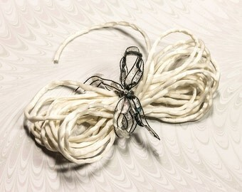 Ivory Silk Cord/ String,Lustrous Soft Hand Rolled Bridal Trim,For Jewellery & Craft Projects, 2 Metre ReadyTo Dye,FREE UK Postage