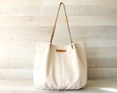 Tote Bag, Large Purse, Diaper Bag, Cream Bag, Creme Tote Bag, Handbag, Bag, Genuine Leather Handles, Large Bag, Oversize Bag, Everyday Tote