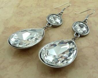 White Crystal Earrings, Wedding Jewelry, April Birthstone, White Bridal Earrings, Swarovski Crystal Teardrop, Dangle Earrings, Silver Plated