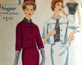 Vintage 1950s Suit Pattern Vogue Special Design 4079 Bust 34 Dress Wiggle Skirt Cropped Jacket