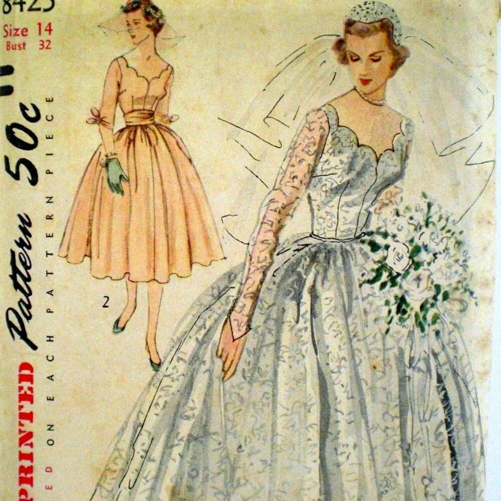 Vintage 1950s Wedding Dress Pattern Simplicity 8425 Formal