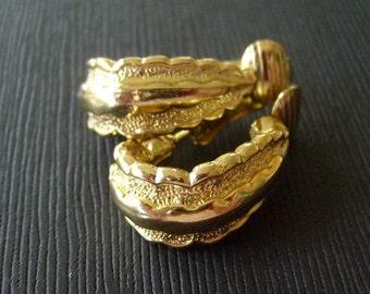 Ruffled Vintage Gold tone Earrings