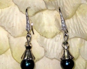 Dark Blue South Sea Shell with Silver and Rhinestones Drop Earrings Sterling Ear Wires