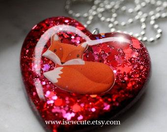 Fox Necklace, Red Heart, Glitter Heart Foxy Statement Necklace, Red Heart Shaped Pendant Necklace Full of Glitter & a Fox by isewcute