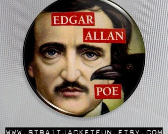 Edgar Allan Poe collage Pinback Button, Magnet, or Flatback - 2 sizes available