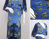 Vintage Midi Dress 1970s Retro Floral Cape Caped Evening Dress Exotic Flowers 70s Blue BanLon Size Medium UK 10-12