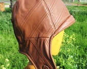 Aviator/ Motoring Hat 1920s Style in Camel Brown Leather