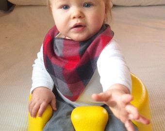 Bandana Toddler Bib Red and Black Plaid // Baby Bandana Bib // Hipster Baby