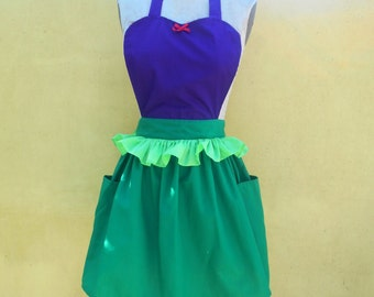 Mermaid apron little Mermaid apron Ariel apron  princess APRON  Princess style  womens full Apron Ariel costume