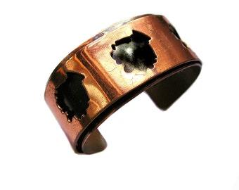 Vintage Copper Bracelet Modernist Cuff Bracelet Layered Design