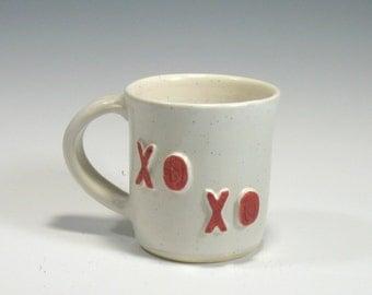 Ceramic Mug - Coffee Mug - Hugs and Kisses Mug - Red Heart Mug - Valentines Mug - Tea mug - Handmade Mug - Pottery Mug - Morning Coffee Mug