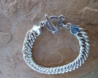 Sterling Silver Curb Chain Bracelet With Horseshoe Nail Clasp
