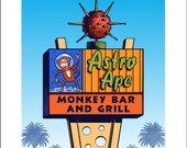 Astro Ape Googie Sign- 11 x 14 Signed print