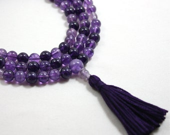Variegated Amethyst Mala Necklace - Mala Prayer Beads - Spiritual Connection and Purification