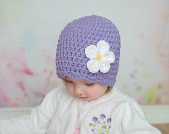 9 Sizes Grape Purple Hat Baby Hat Baby Girl Hat Toddler Hat Toddler Girl Hat Womens Hat 30 Flower Colors Crochet Flower Hat Flapper Beanie