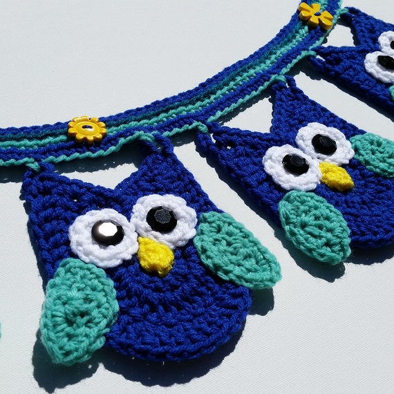Crochet Pattern For Minion Baby Outfit : Owl Banner / Bunting / Garland / Crocheted Owl by PinkMaple