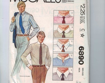 1970s Vintage Sewing Pattern Mccalls 6890 Mens Button Down Shirt with Collar Options Chest 42 44 1979 UNCUT  99