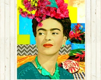 Frida Kahlo Instant Digital Download Art Print Mexico Boho Mixed Media Collage Modn Home Wall Decor Aqua Blue Pink Black White Yellow Green