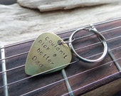 Dad Guitar Pick Keychain- Couldn't Pick a Better Dad- Metal Pick- Plectrum Pun Brass Father Stamped Musician Keyring