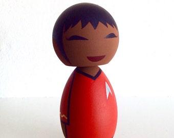 Kokeshi doll. Star Trek inspired Lt. Uhura custom.