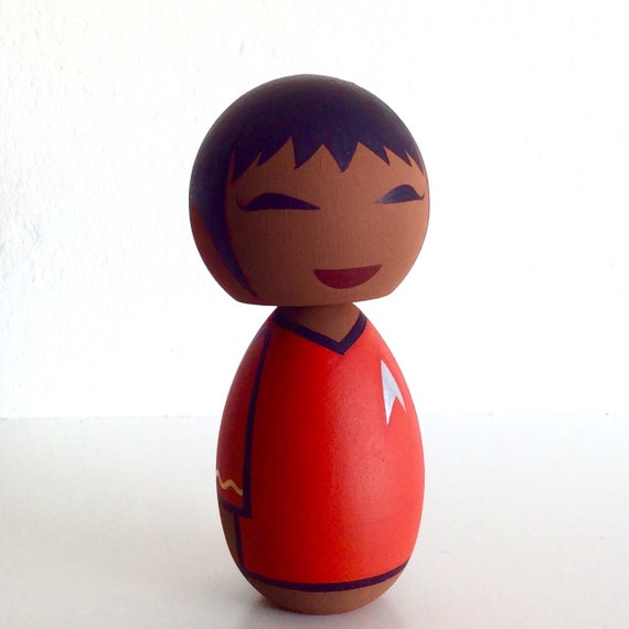 Kokeshi doll. Star Trek inspired Lt. Uhura custom.