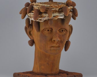 Queen Pineace Ceramic mixed media sculpture