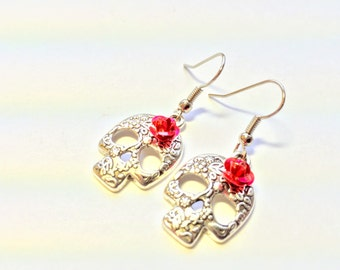 Silver Sugar Skull Red Rose Day of the Dead Earrings