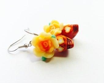 Sugar Skull Earrings Orange Heart Day of the Dead Roses and Skulls Jewelry