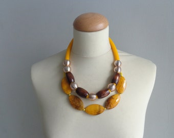 Statement yellow brown necklace
