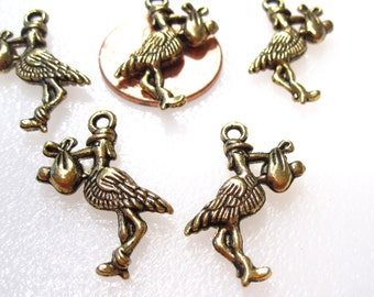 50% Off 12 Baby Delivery New Baby Stork Charms Antique Gold Tone, 3D C0101