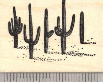 Saguaro Cactus Rubber Stamp, Sonoran Desert Arizona, or Mexico Cacti H26613 Wood Mounted