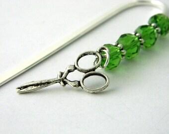 Scissors Bookmark with Green Glass Beads Shepherd Hook Steel Bookmark Silver Color