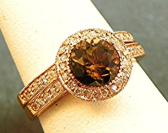 AAAA Watermelon Tourmaline   7.0mm  1.58 Carats   AAA Round Natural Untreated 14K Rose gold bridal set with .35cts of diamonds. B007 1462