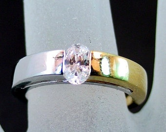 18K gold two tone ring set with   6x4mm   oval White Sapphire MMM