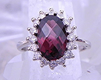 AAA Natural Rhodolite garnet 11x7mm 3.46 Carats  14K or 18K white gold engagement ring set with .60cts of diamonds  1949
