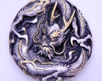 DRAGON Pendant Ready to ship Hand Made in sterling silver with Yellow diamonds and 24K gold accents.