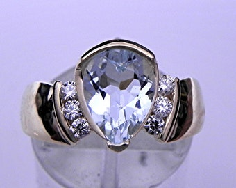 AAA Aquamarine 1.64 ct Pear Shape 10x7mm in 14K Yellow gold Engagement ring with .20 ct of diamonds 0239