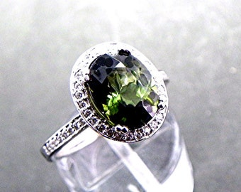 AAAA Natural Green Tourmaline   10x8mm  2.85 Carats   in a 14k White gold ring with Halo of diamonds (.33ct) 0329 MMMM