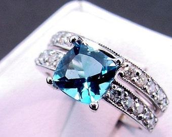 AAA Swiss Blue Topaz Diamond   7x7mm  1.49 Carats   14K white gold Bridal set (.60CT) 752