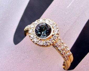 AAAA Blue Tourmaline  Very RARE   5.0mm  .54 Carats   14K Yellow gold diamond bridal set 0870 MMM