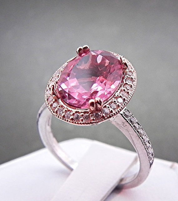 AAA Natural Pink Tourmaline 2.44 Ct 10 X 8mm. in a 14k White/Rose gold ring with diamonds (.30ct) 0957 MMM