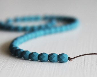 50 Matte Saturated Blue Teal Faceted 4mm Czech Glass Round