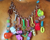 SALE 1980s Plastic Charms Necklace // POP ART // Kawaii // Punk // Cat Bunny // 80's Statement Piece // COlorful Bold // Grunge Club Kid