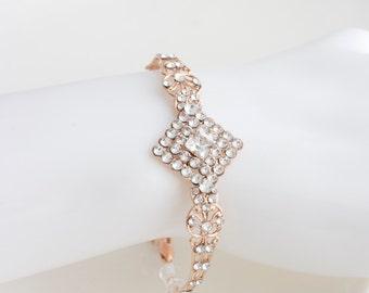 Rose Gold Wedding Bracelet Art Deco Bridal Bracelet Swarovski Crystal Wedding Bracelet Rhinestone Filigree Bracelet MARCELLA FINE BRACELET