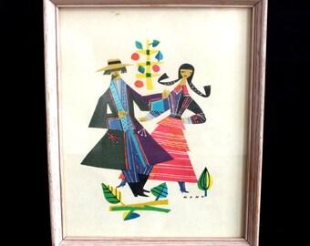 Vintage Framed Print of European Dancers So Colourful and Delightful!