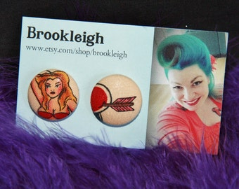 """Fabric covered earrings, 23mm (7/8""""), Retro/ Vintage /Rockabilly inspired. ALEXANDER HENRY Tattoo pinup heart"""