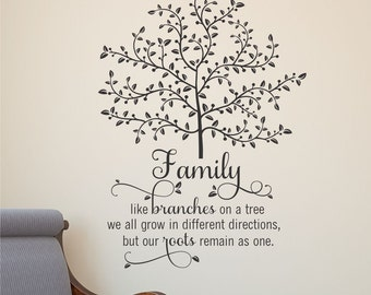 Wall Quote Decal Family Tree With Roots Branches Home Wall Art Vinyl Decal