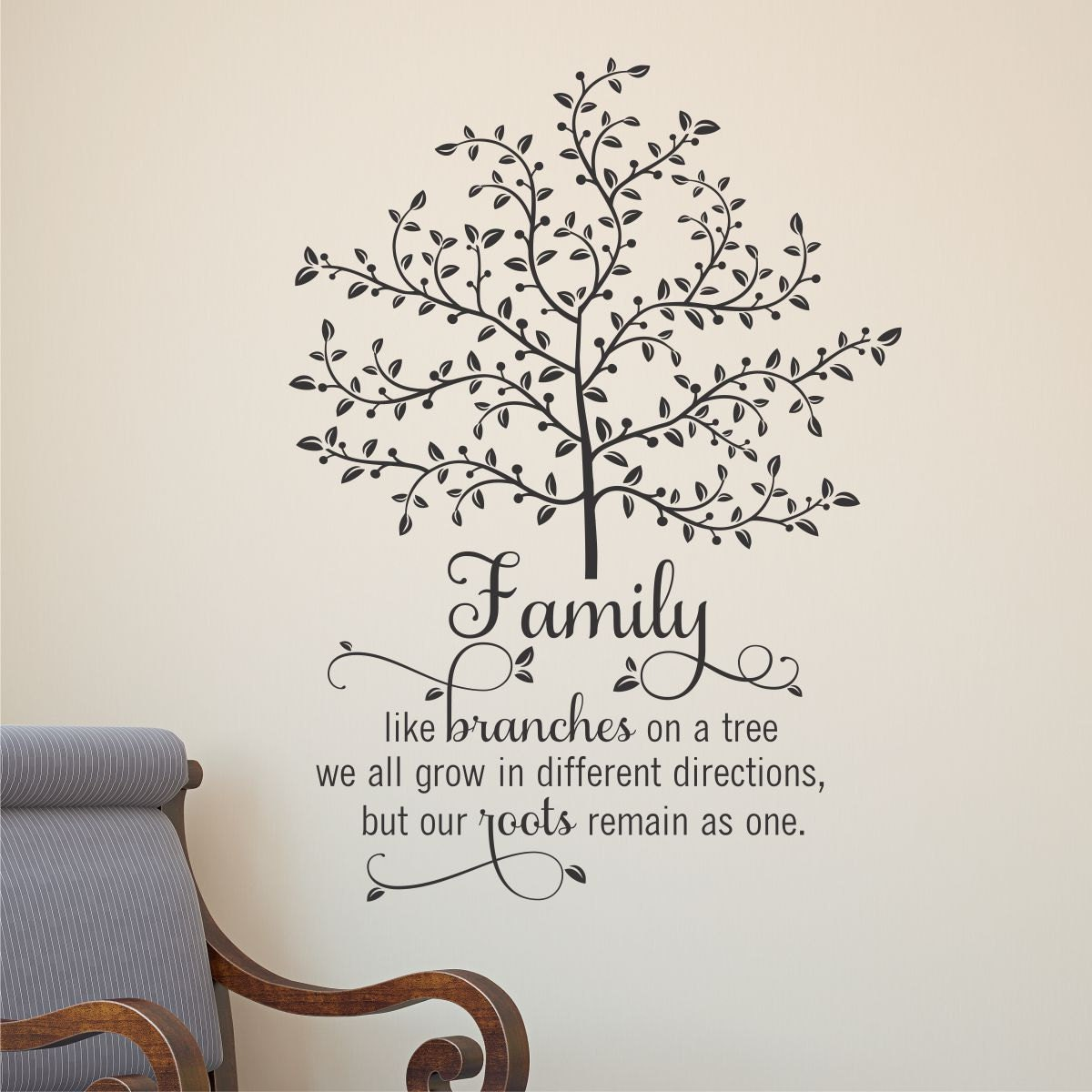 Quote Modznrockers Blackpool Quote Script Tree: Wall Quote Decal Family Tree With Roots Branches Home Wall Art